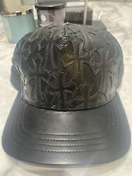 CHROME HEARTS CEMETERY CROSS LEATHER STITHED TRUCKER HAT $1200.00