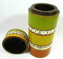 Moroccan Wood Stash Jar Hookah Tobacco Container Canister W/ Lid Tall Handmade