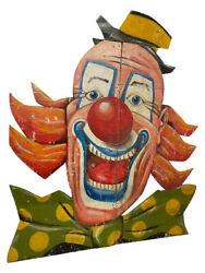 Large Wooden Clown Face, 110 Tall, Nice Game Room Or Restaurant Piece 11639