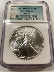 1986 Silver Eagle Ngc Ms70 First Year Of Issue - Rare