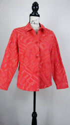 Coldwater Creek Women's Jacket Shirt Size 10 Pink Button Front Relaxed Fit