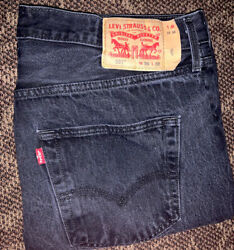 Men's 501 Button Fly Jeans Size 36 X 32 Denim Jeans Black Fast Shipping