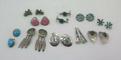 Vintage Native American Sterling Silver Earring Lot Of 10 Pairs Clip On