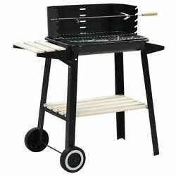 Vidaxl Charcoal Bbq Grill Stand Black Steel Wood Grill Smoker Cooker With Wheels
