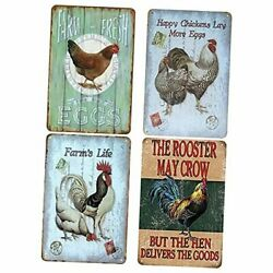 4PCS Metal Tin Signs Vintage Funny Chicken Signs Wall Decor for Farm Kitchen