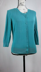 Halogen Women's Cardigan Size Medium Button Front Long Sleeve Relaxed Fit Casual