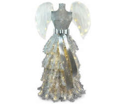 Vixen Christmas Tree Angel Pre-lit Led 4and039 Artificial Feather Wings Clear Lights