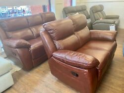Brown Real Leather 3+2 Manual Reclining