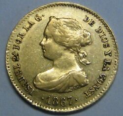 1867 Madrid 4 Escudos Isabel Ii Spain Gold Doubloon Spanish Colonial Era Coin