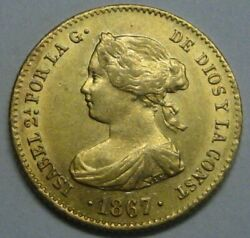 1867 Madrid 4 Escudos Isabel Ii High Grade Spain Gold Doubloon Spanish Colonial