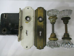 Vintage 12 Point Glass Door Knobs 2 Sets And Art Deco Plates And Lock Set Nice