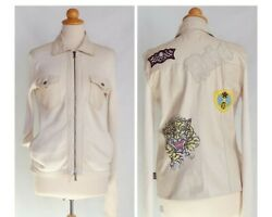 Versace Bomber Jacket Leather Knit With Patches Tiger Painted Embroidered Rebel