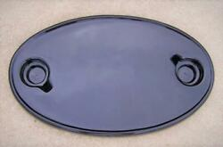 18 X 30 Glossy Black Boat Table Top Abs Plastic 2 Drink Holders