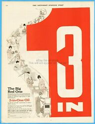 1921 Three-in-one Oil Co New York The Big Red One Handy Oil Can Vintage Ad