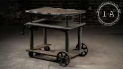 Antique Industrial Metal Rolling Cart With Crank Base