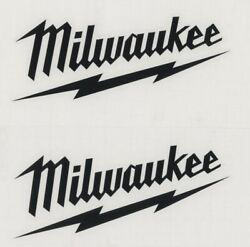 2x MILWAUKEE TOOLS 6quot; Black Decals Stickers for Toolbox Trucks Windows...