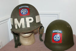 Original Vietnam War U.s. Army 82nd Airborne And Mp Painted Helmet And 69and039 D. Liner