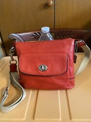Red Vintage Pepppelt Leather Coach Crossbody Coach Purse Fits I Phone $64.99