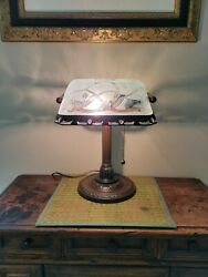 Vintage Bronze Metal Bankers Desk Piano Lamp Frosted Glass Etched Floral Design
