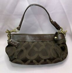 Coach Authentic Madison Op Art Hobo Shoulder Canvas Leather Chocolate Brown Bag $56.00