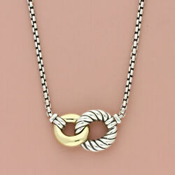 David Yurman Sterling Silver And 18k Gold Belmont Double Curb Link Necklace 16-17