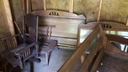 Antique Old Hickory Full Beds Sofa Big Mirror Side Table And Game Table Cabin