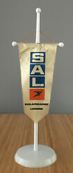 Sal South African Airways 1980s Office Pennant Flag Desktop Stand .rare