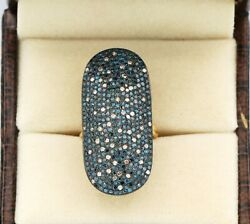 Blue Diamond And Diamond Ring 925 Sterling Silver Ring Christmas Gift Ring For Her