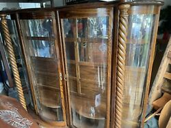 Beautiful Oak Antique Curved Glass, Mirror Back China Cabinet, Double Door
