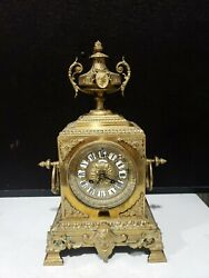 Antique Heavy Brass Ornate H And F 927 Paris Richond Montmarte Clock With Key