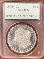 1878-cc Morgan Silver Dollar Pcgs Ms63plkey Date In Old Rattler Holder