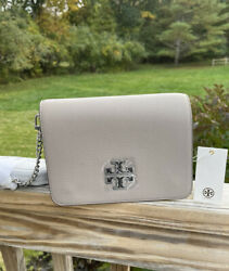 NWT Tory Burch Britten Combo Leather Large Crossbody Messenger Gray $239.99
