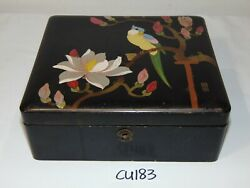 Vintage Asian Black Lacquer Wood Japanese Jewelry Box Painted Japan Bird