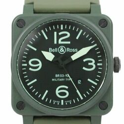 Bell And Ross Aviation Military Ceramic Rubber Automatic Green Khaki Br03-92-ck