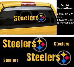 Set Of 4 Pittsburgh Steelers Decals Stickers Car Window,two 23x7and Two 10x2.5