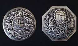 Deux Broches Argent Chine Mark Vietnam Brooch Silver Chinese Xix