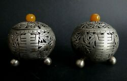 Paire Saleron Indochine Argent Ambre Bambou Silver Amber Salt Sel Chinese Xix