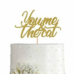 You Me And The Cat Cake Topper Gold Glitter Cat Lover Anniversary Wedding Cak...