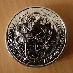 Uk 5andpound Red Dragon 2017 2 Oz Silver 99.9