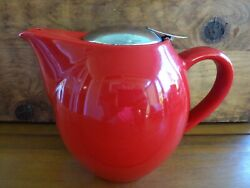 Huesnbrews Christmas Bright Cherry Red 3 Cup Teapot, Silver Clip-on Lid