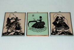 3 Vintage Antique Art Deco Reverse Painted On Glass Dancing Silhouette Pictures