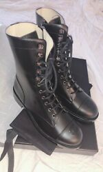 New Black 38 8 Leather Classic Ankle Lace Up Combat Boots Shoes Popular .