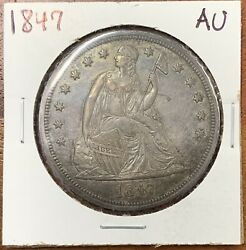 1847 Seated Liberty Dollar About Uncirculated Aunice Coin