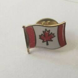 Vintage Canadian Flag Lapel Pin Tie Tack .5 In Ou48 1970s 1960s Gold Tone Canada