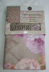 Fabric Shower Curtain And Roller Ball Beaded Hooks Beige Floral Cottage Farmhouse
