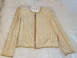 Vintage Pearl And Gold Beaded Blazer Jacket