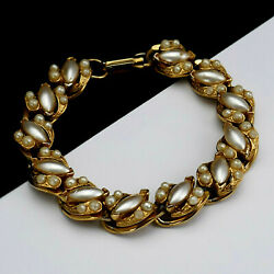 Vintage Florenza Marquise Faux Pearl Gold Plated Chain Link Bracelet