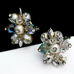 Vintage 50and039s Pearl Rhinestone Ab Blue Crystal Leaf Wired Cluster Clip Earrings
