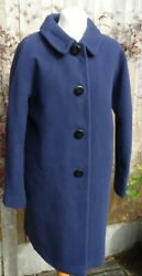 Boden Navy 75 Wool Coat Size 12 Knee Length Polyester Lined Vgc