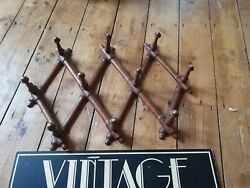 Antique Old Vintage French Faux Bamboo Wood Coat Hat Rack Brass Knobs